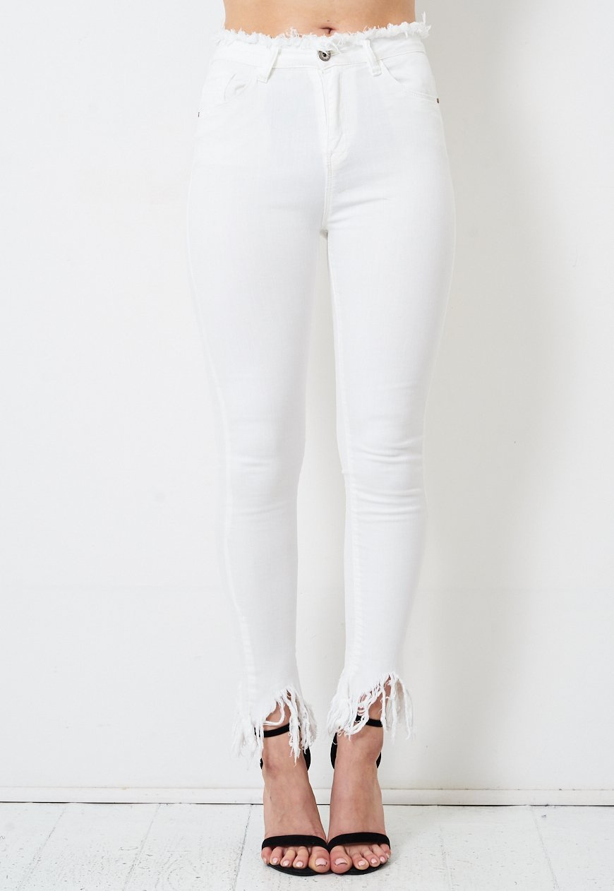 White Skinny Frayed Jean - love frontrow