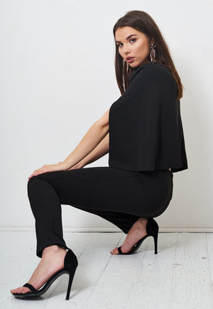Black Cape Jumpsuit - love frontrow