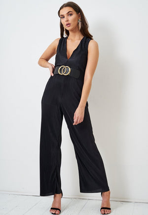 Black V Neck Plisse Jumpsuit - love frontrow