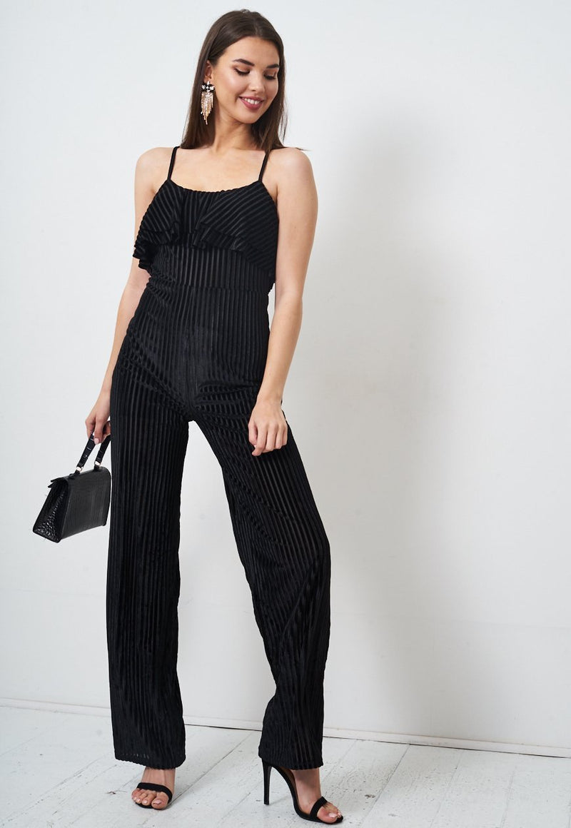 Black Velvet Frill Jumpsuit - love frontrow