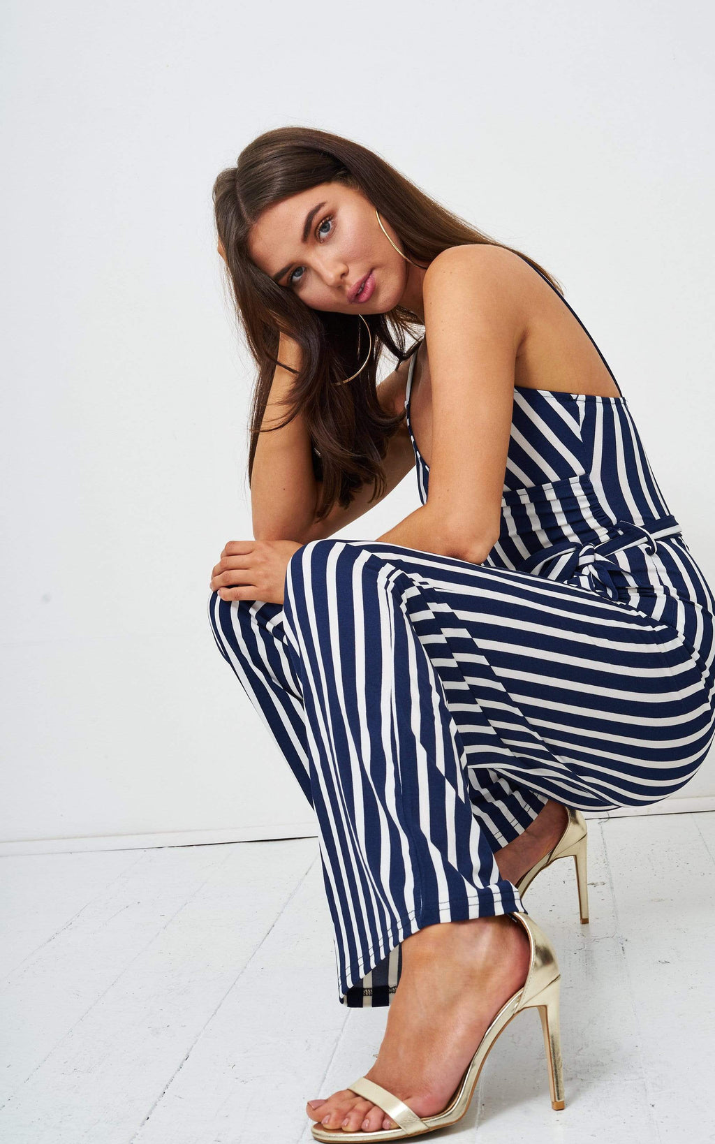 Hallie Navy Striped Wrap Jumpsuit - love frontrow