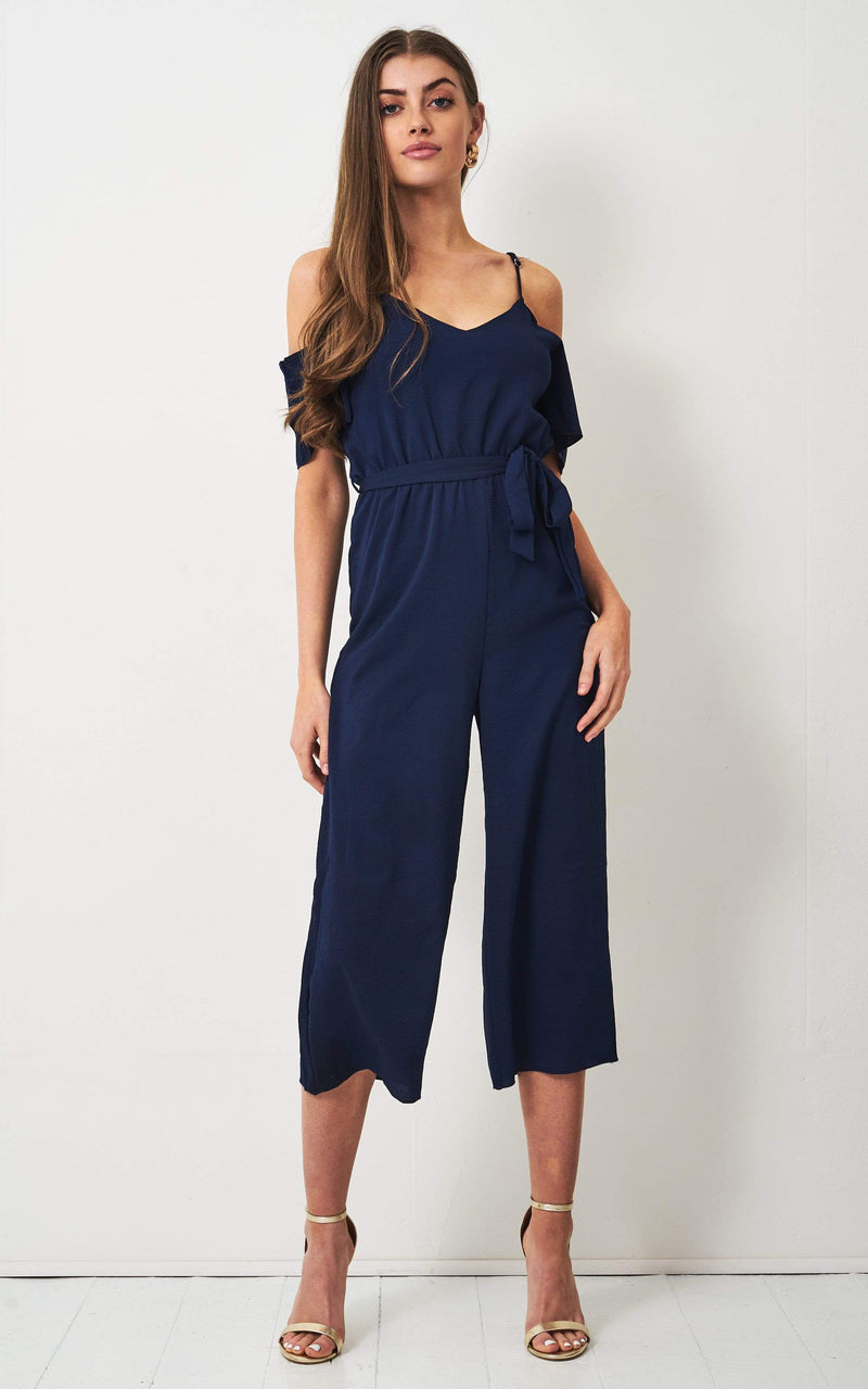Jolene Navy Cold Shoulder Culotte Jumpsuit - love frontrow