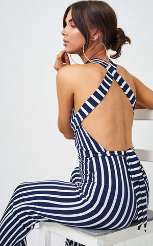 Kaytie Halterneck Striped Multiway Jumpsuit - love frontrow