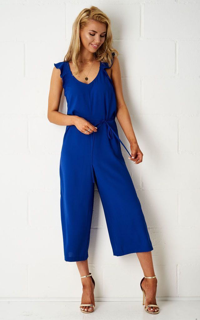 Leahanna Culotte Jumpsuit In Blue - love frontrow