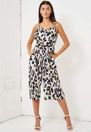 White Leopard Print Culotte Jumpsuit - love frontrow