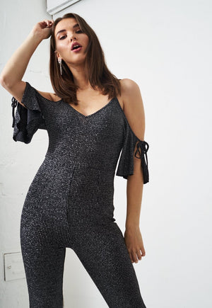 Metallic Cold Shoulder Jumpsuit - love frontrow
