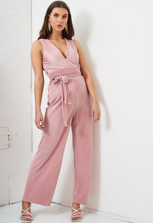 Pink V Neck Pleated Jumpsuit - love frontrow
