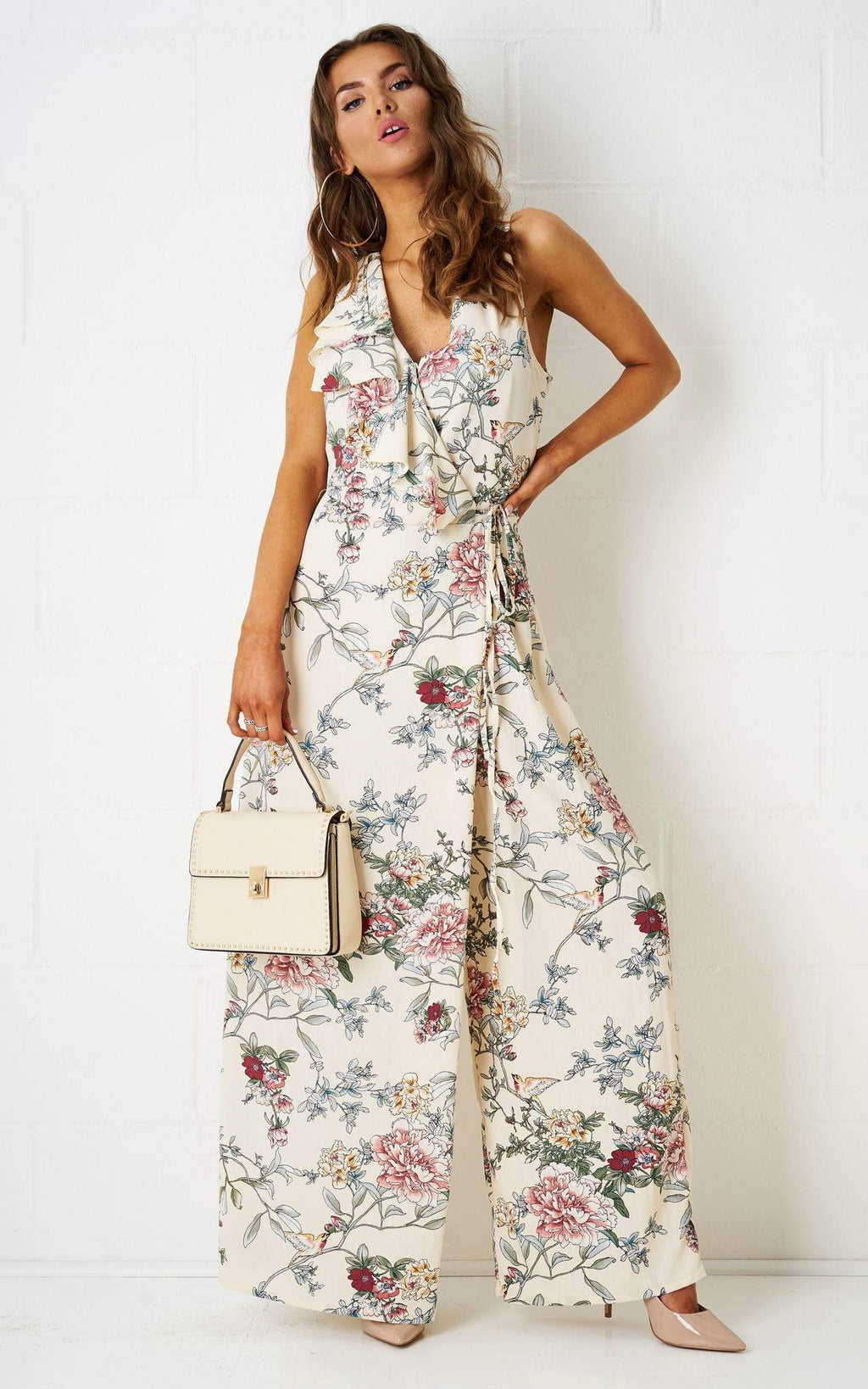 Soniya Wrap Effect Floral Jumpsuit - love frontrow