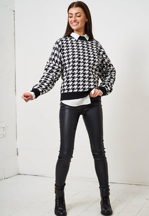 Black Dogtooth Print Batwing Jumper - love frontrow