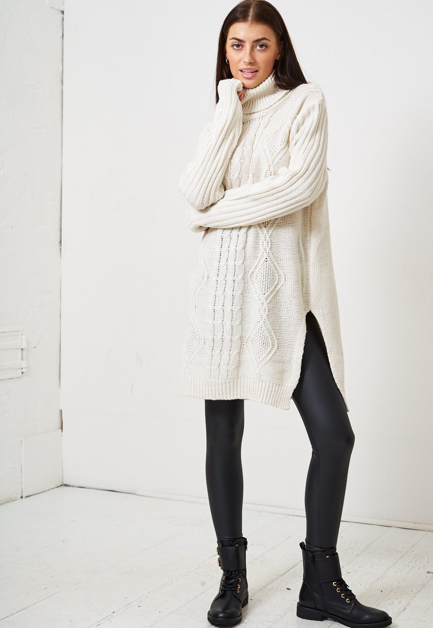Cream Longline Oversized Roll Neck Jumper - love frontrow