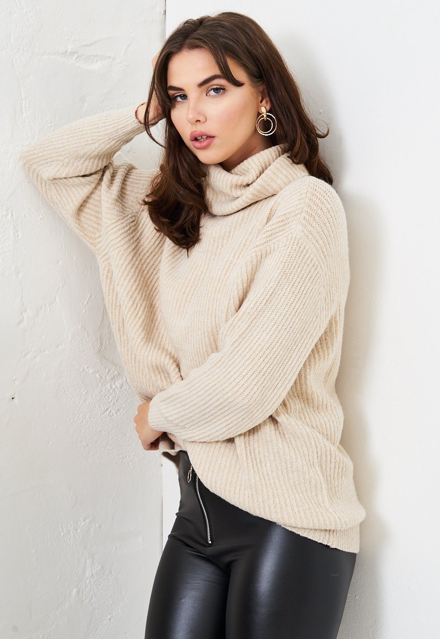 Beige Knit Slouchy Roll Neck Jumper - love frontrow