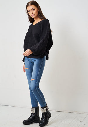 Black Open Back Jumper - love frontrow