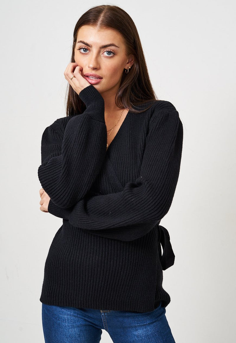 Black Wrap Effect Jumper - love frontrow