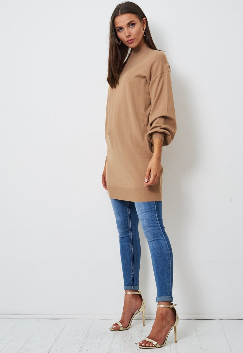 Camel High Neck Longline Jumper - love frontrow