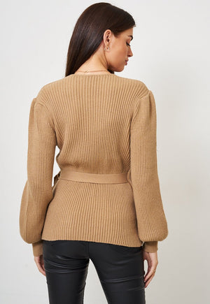 Camel Wrap Effect Jumper - love frontrow
