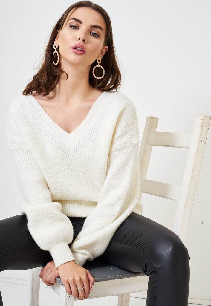 Cream Off The Shoulder Knitted Jumper - love frontrow