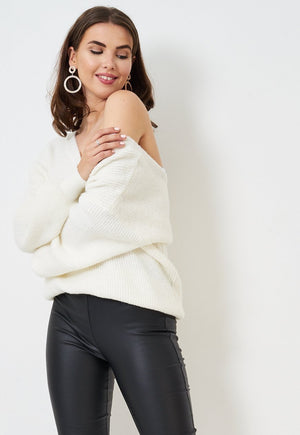 Cream Off The Shoulder Knit Jumper - love frontrow