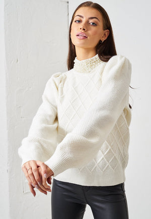 Cream Pearl High Neck Puff Sleeve Jumper - love frontrow