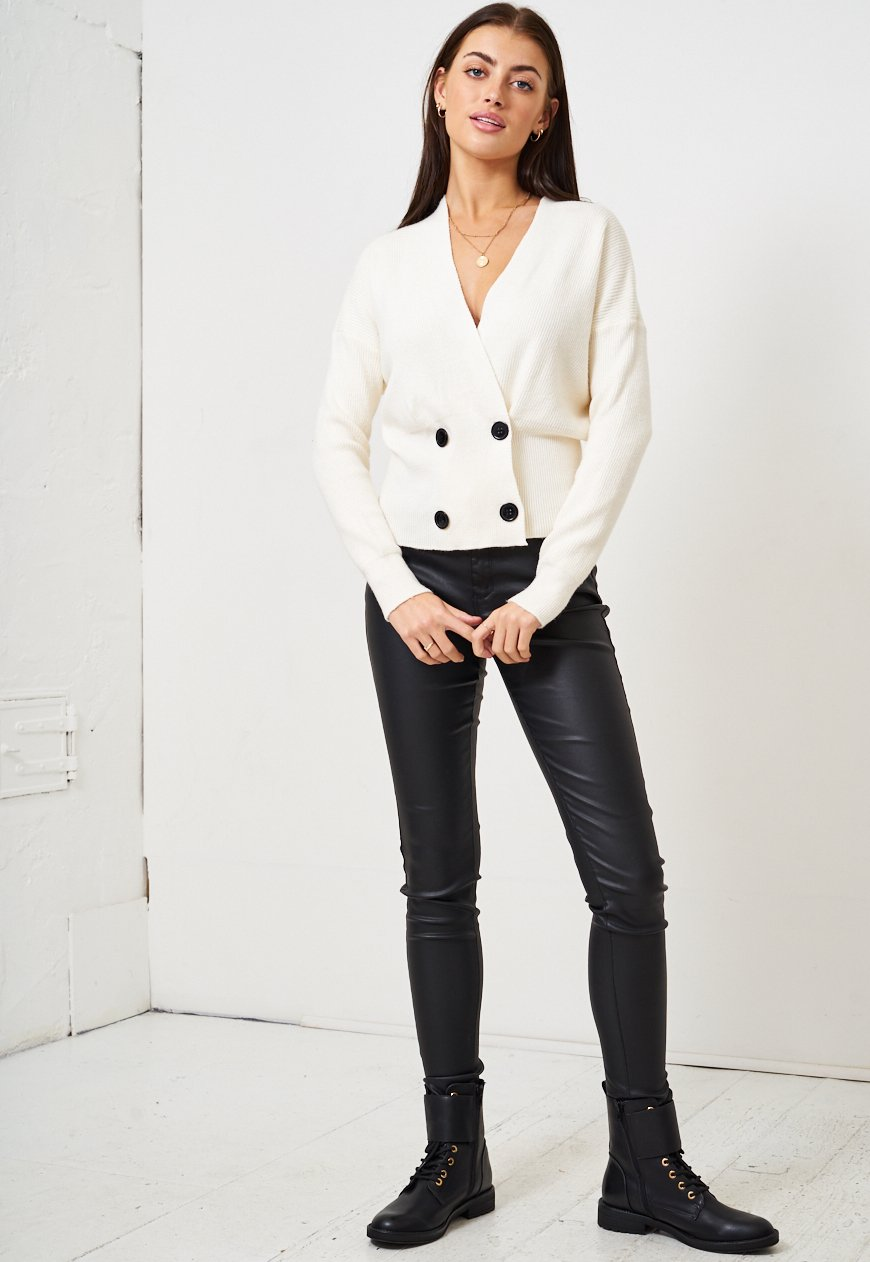 Cream Wrap Button Front Cardigan - love frontrow