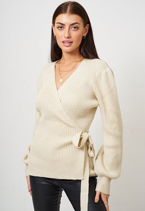 Cream Wrap Effect Jumper - love frontrow