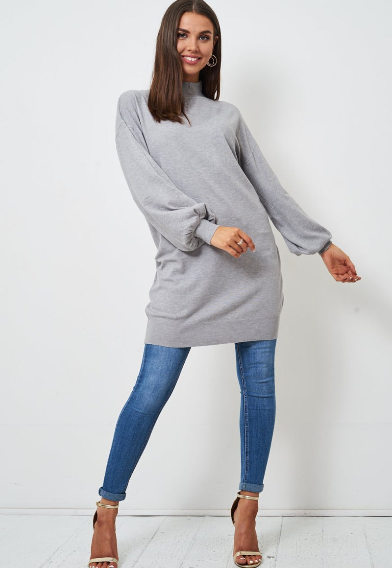 Grey High Neck Longline Jumper - love frontrow