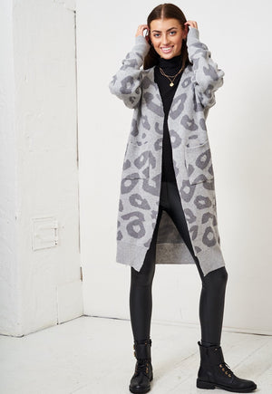 Grey Leopard Print Mid Oversized Cardigan - love frontrow