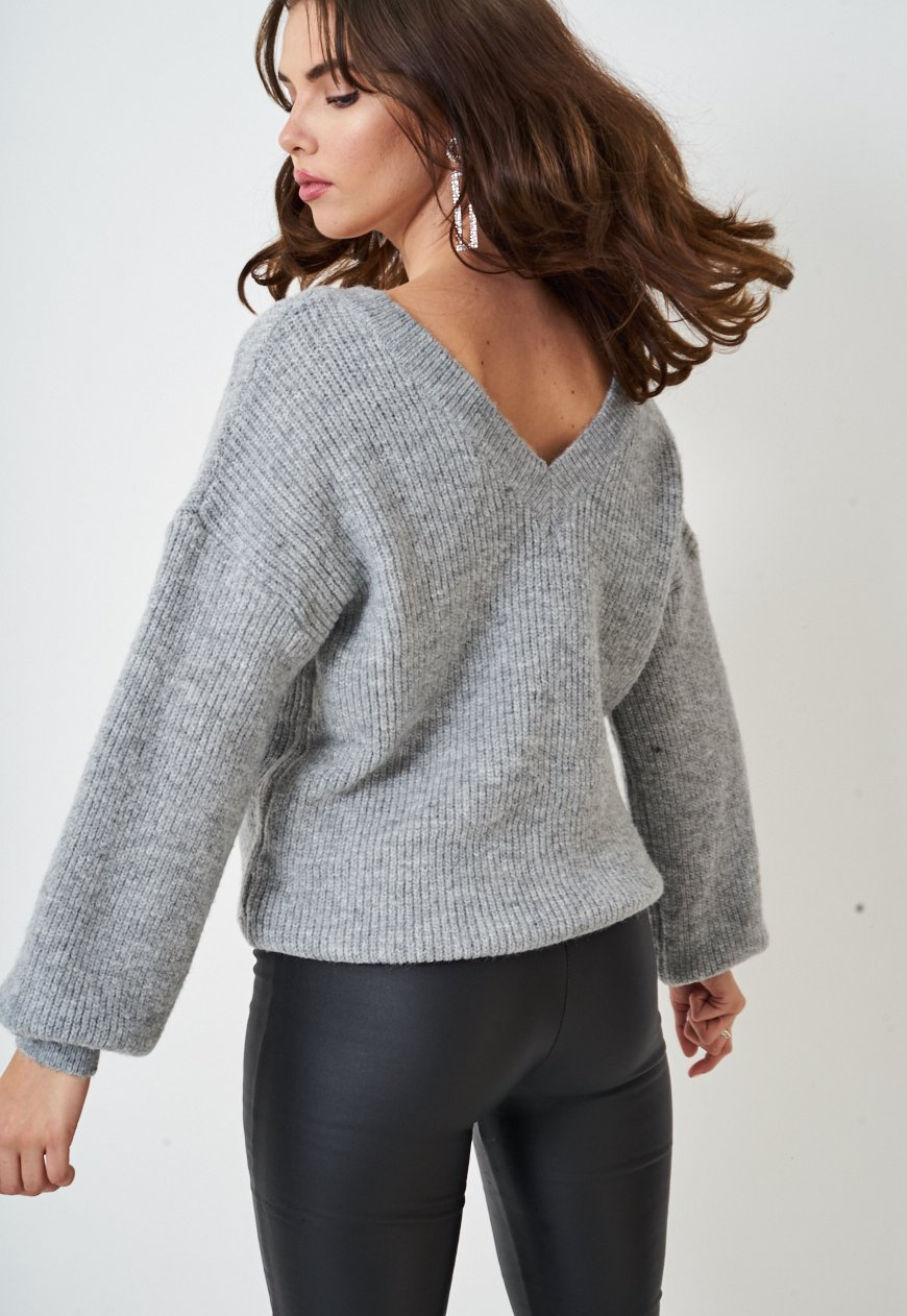 Grey Off The Shoulder Knitted Jumper - love frontrow