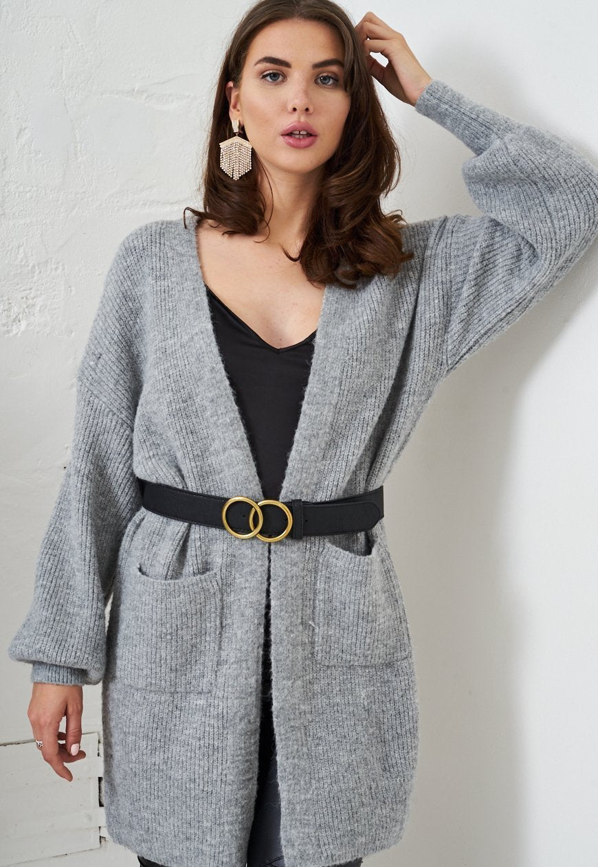Grey Open Oversized Knit Cardigan - love frontrow