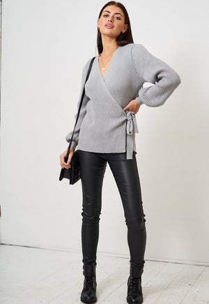 Grey Wrap Effect Jumper - love frontrow