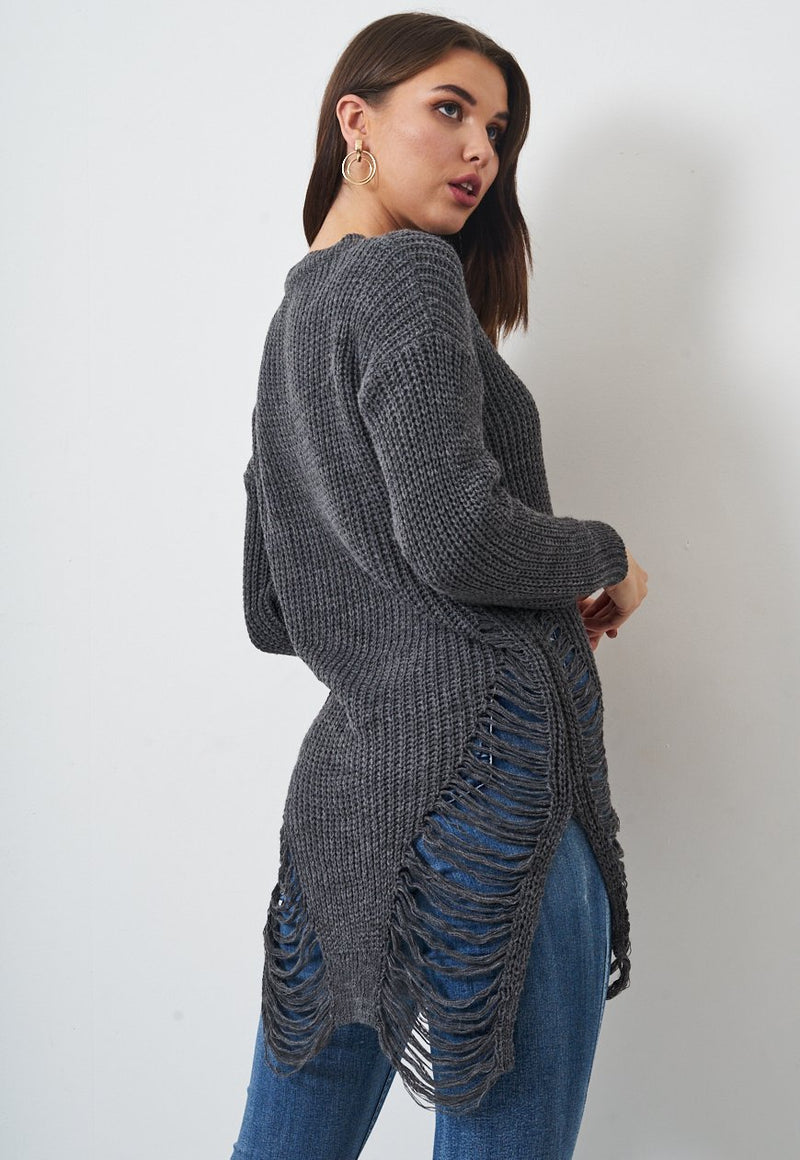 Grey Chunky Ripped Jumper - love frontrow
