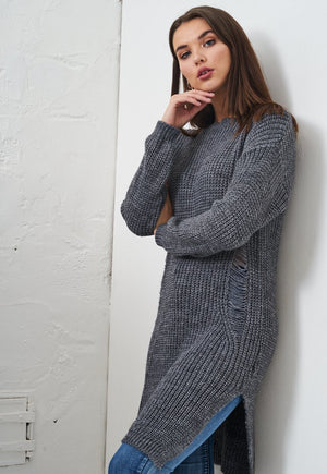 Dark Grey Chunky Long Jumper - love frontrow