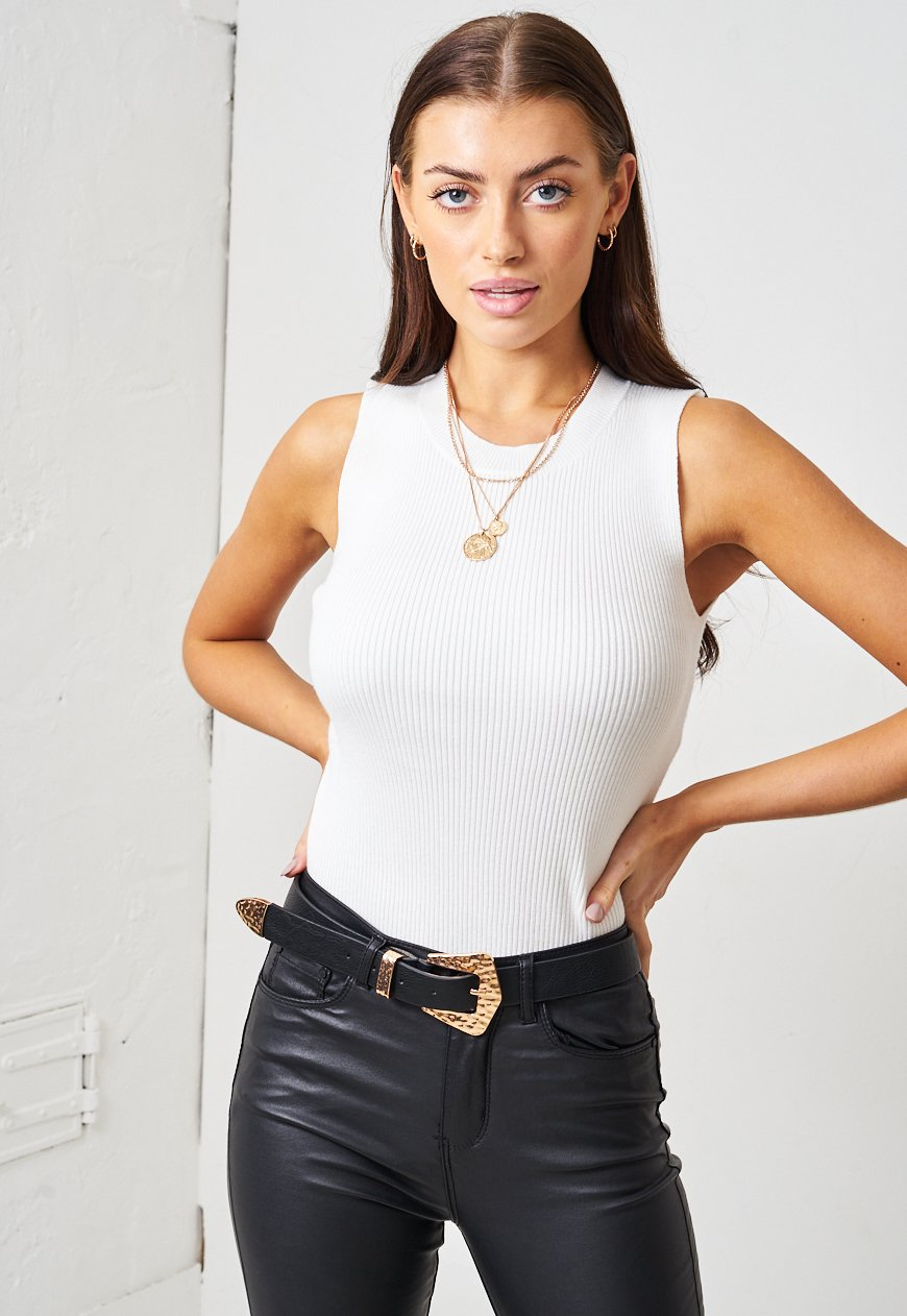 White Ribbed Knit Sleeveless Top - love frontrow