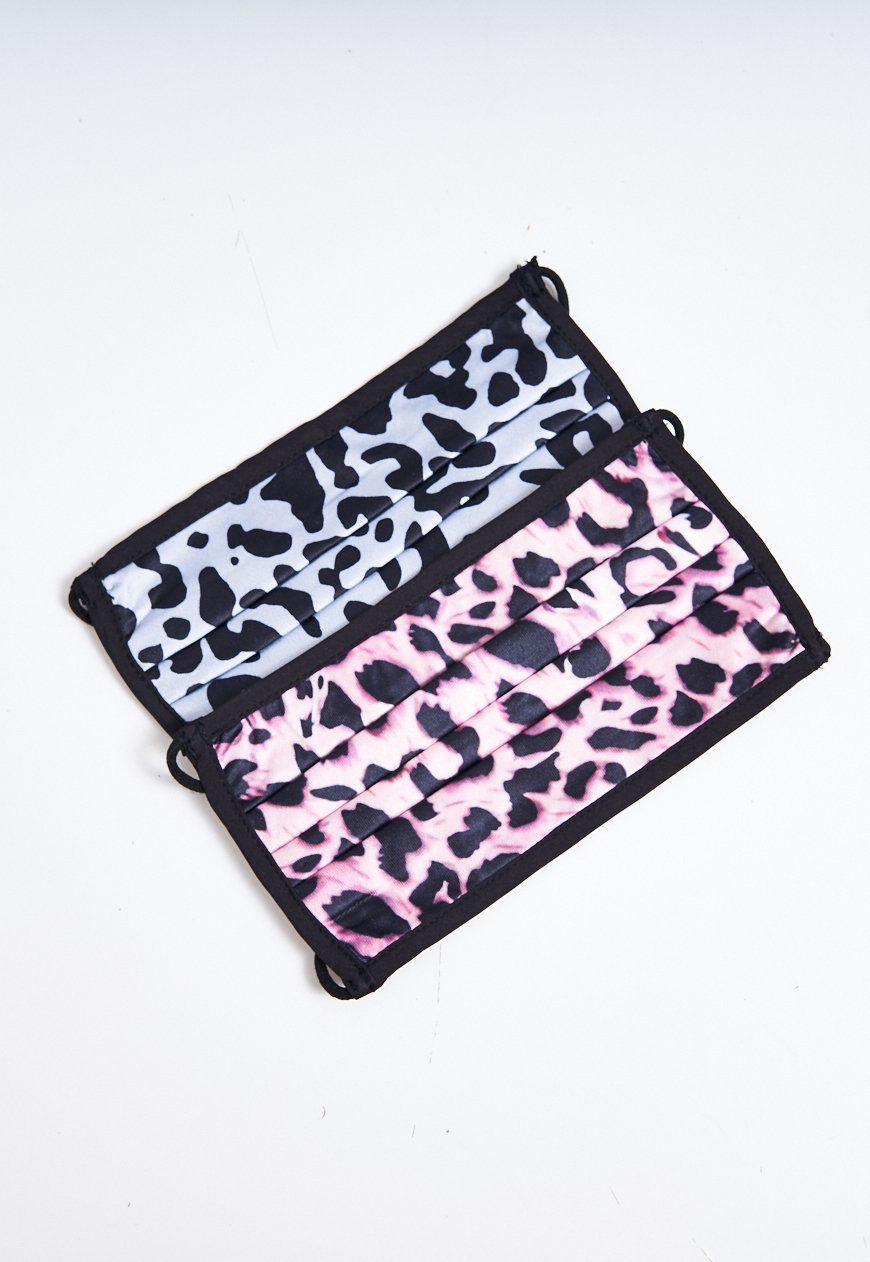 2 Pack Pink And Grey Leopard Print Face Masks - love frontrow