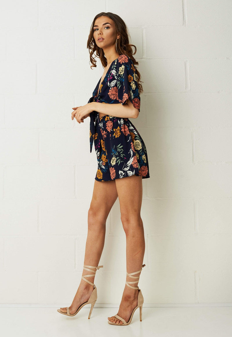 Bahia Floral Tie Front Playsuit In Navy - love frontrow