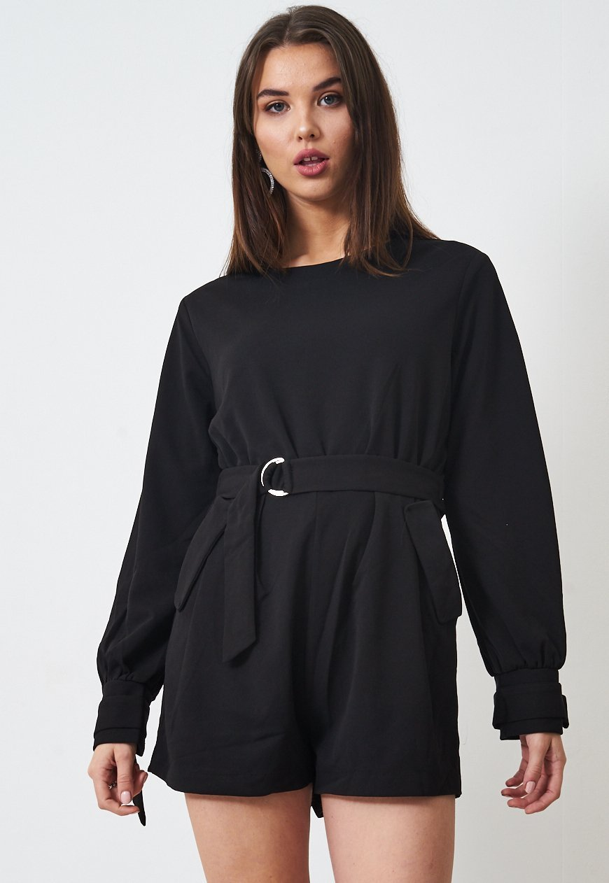 Black Long Sleeve Playsuit - love frontrow