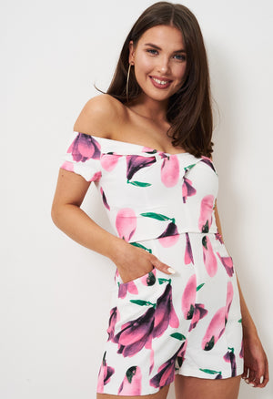 Botanica Floral Off The Shoulder Playsuit In Pink - love frontrow
