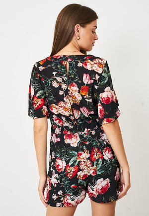Floral Playsuit In Black - love frontrow