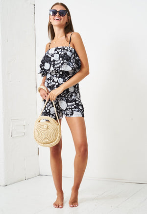 Floral Print Playsuit in Black - love frontrow