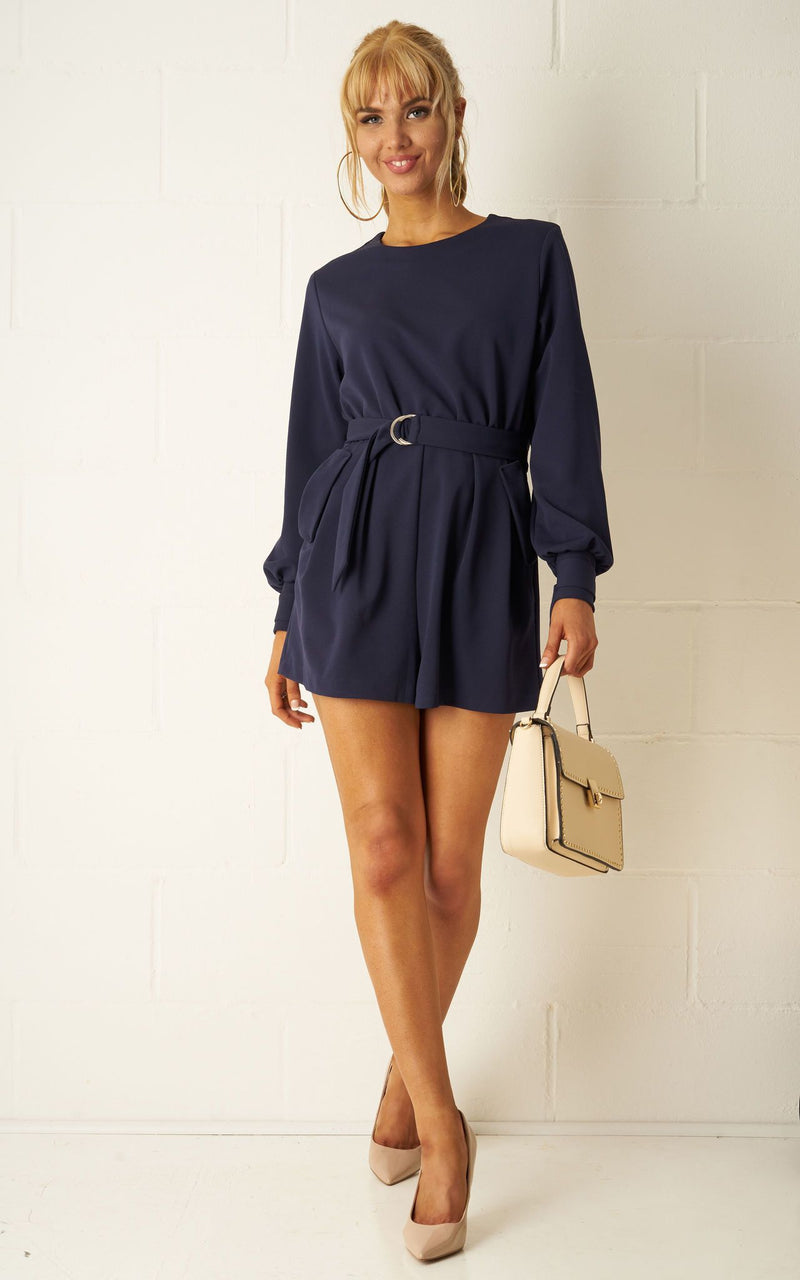 purchase original better price for new cheap Sophyia Navy Long Sleeve Playsuit