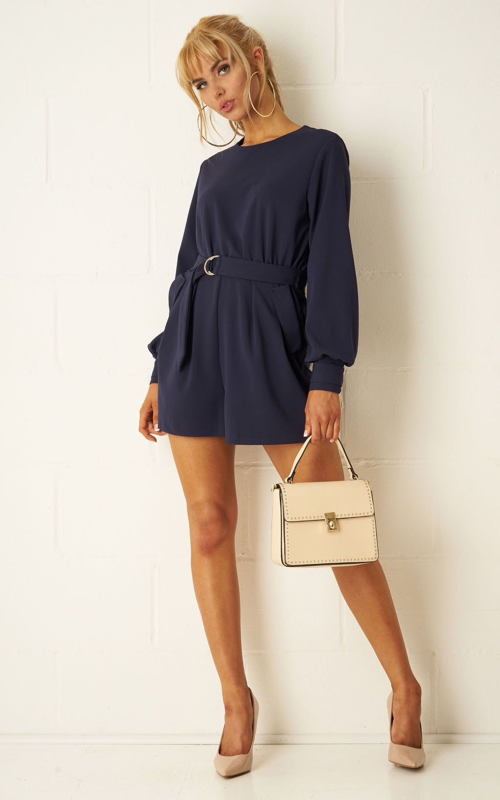 Sophyia Navy Long Sleeve Playsuit - love frontrow