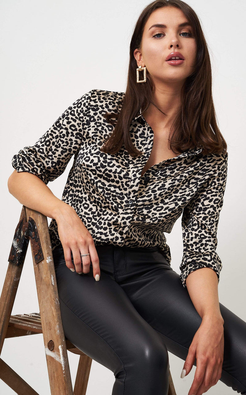 Lara Black Animal Print Shirt - love frontrow