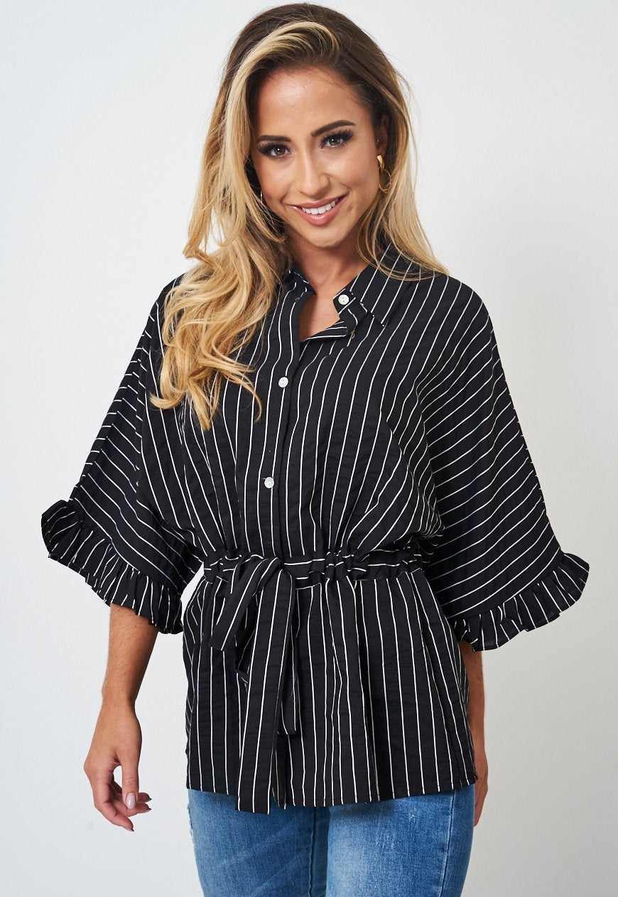 Black Striped Kimono Top - love frontrow