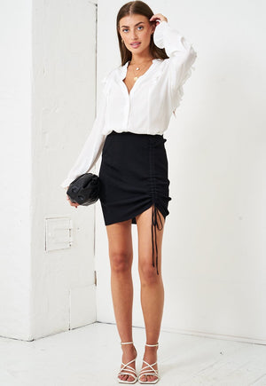 Ruched Front Mini Skirt in Black - love frontrow