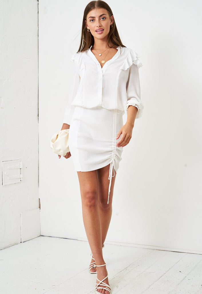Ruched Front Mini Skirt in White - love frontrow