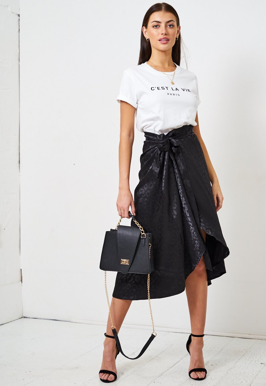 Black Leopard Print Jacquard Satin Wrap Skirt - love frontrow