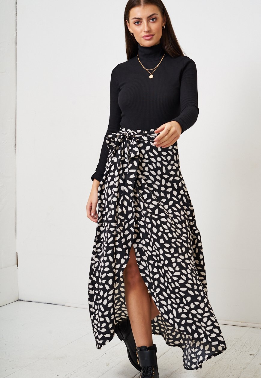 Black Leopard Print Wrap Skirt - love frontrow