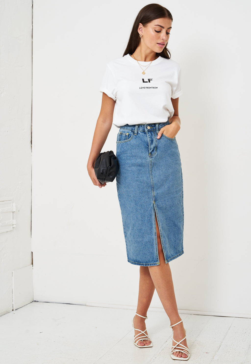 Denim Jean High Waist Pencil Skirt in Light Blue - love frontrow