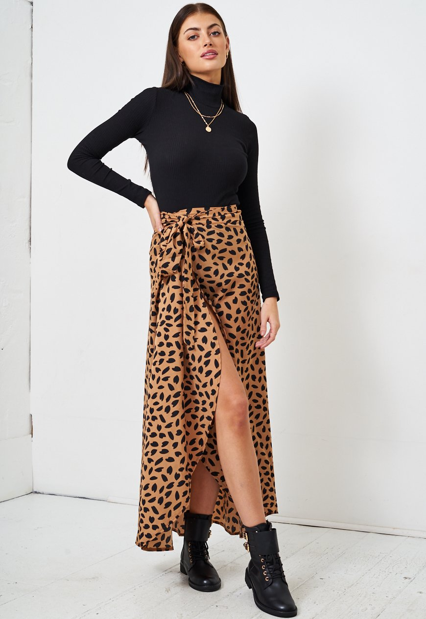 Tan Leopard Print Maxi Wrap Skirt - love frontrow