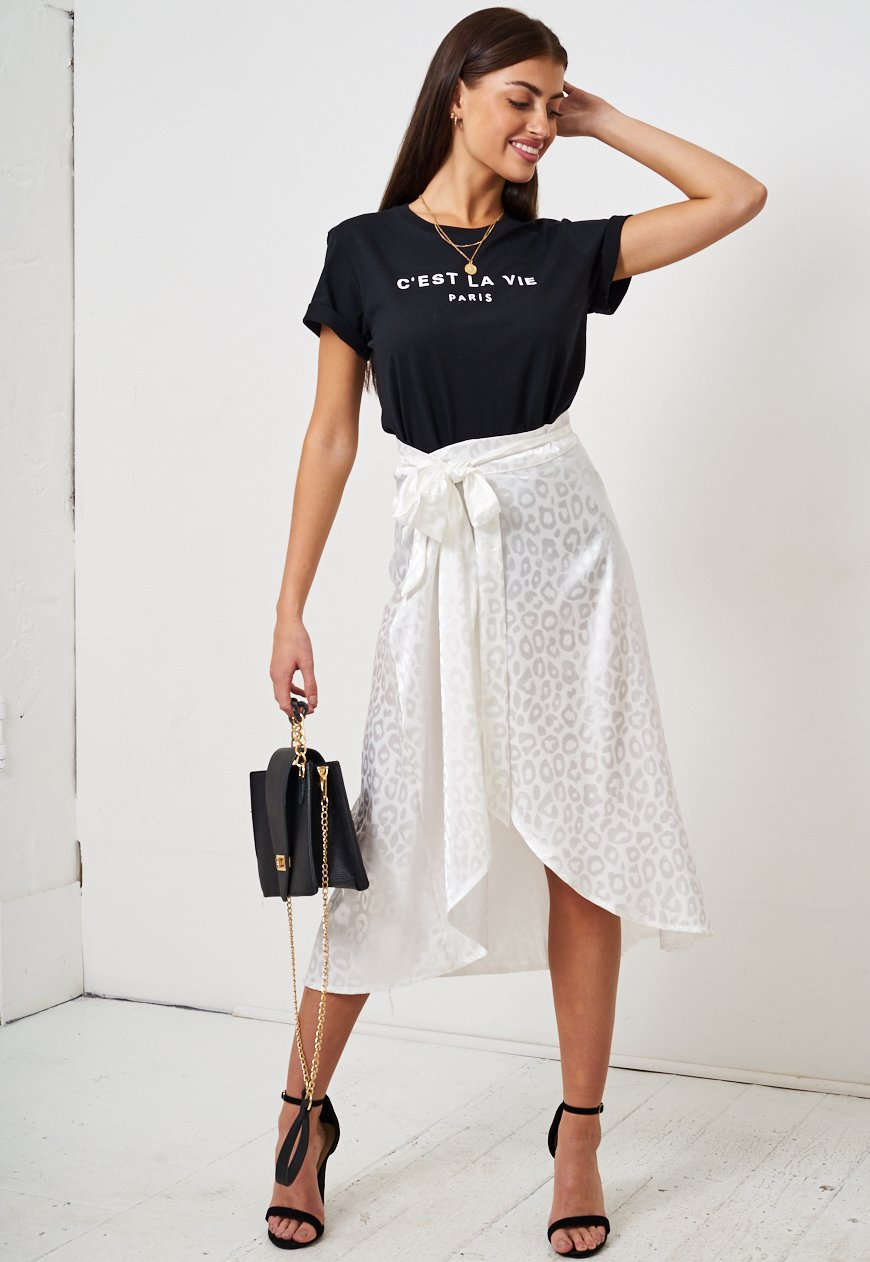 White Leopard Print Jacquard Satin Wrap Skirt - love frontrow