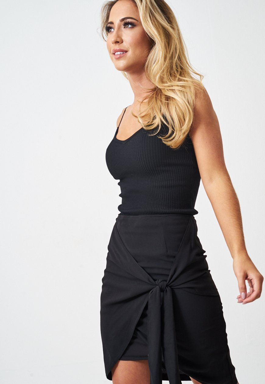 Black Wrap Effect Mini Skirt - love frontrow
